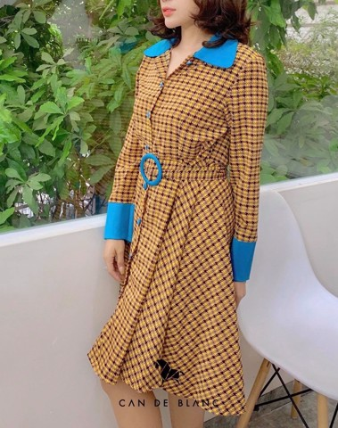 Houndstooth Yellow Dress