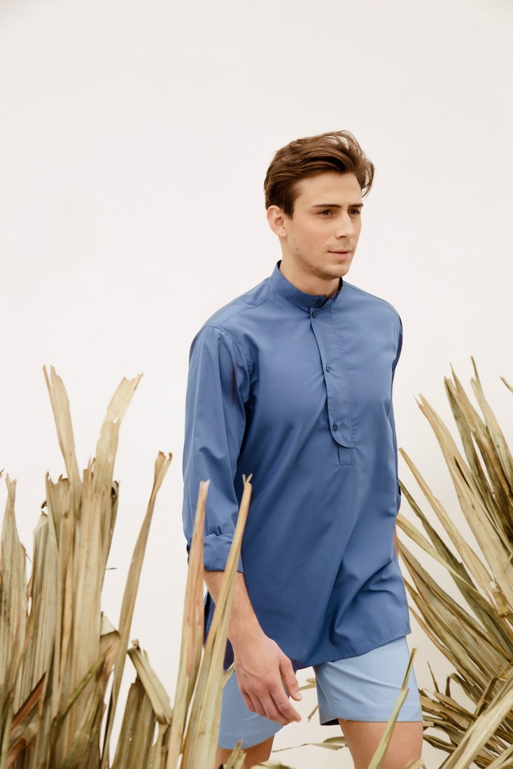 Blue Split Collar Shirt