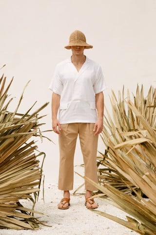 Cuban Neck White Shirt