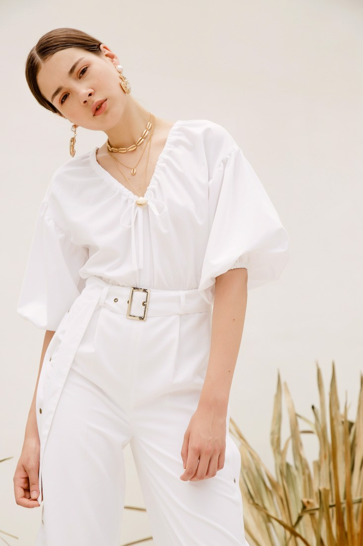 White Jumpsuit with Belt