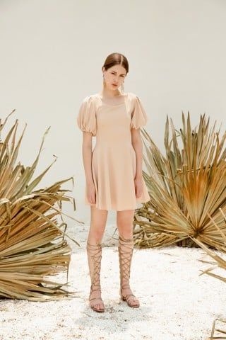 Puffed Sleeves Beige Dress