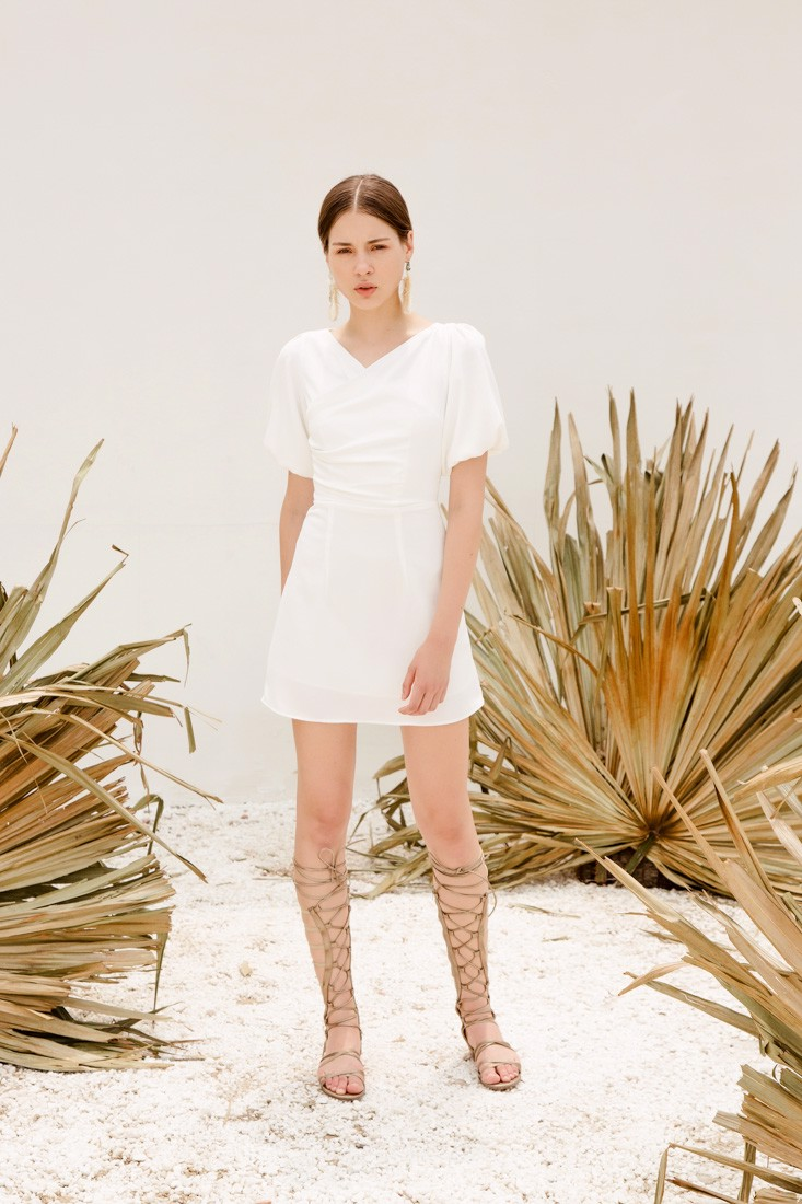 Puffed Sleeves White Dress