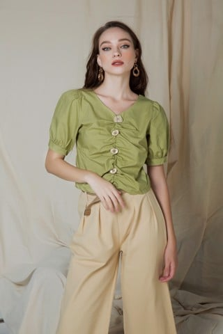 Puffed Sleeves Green Top