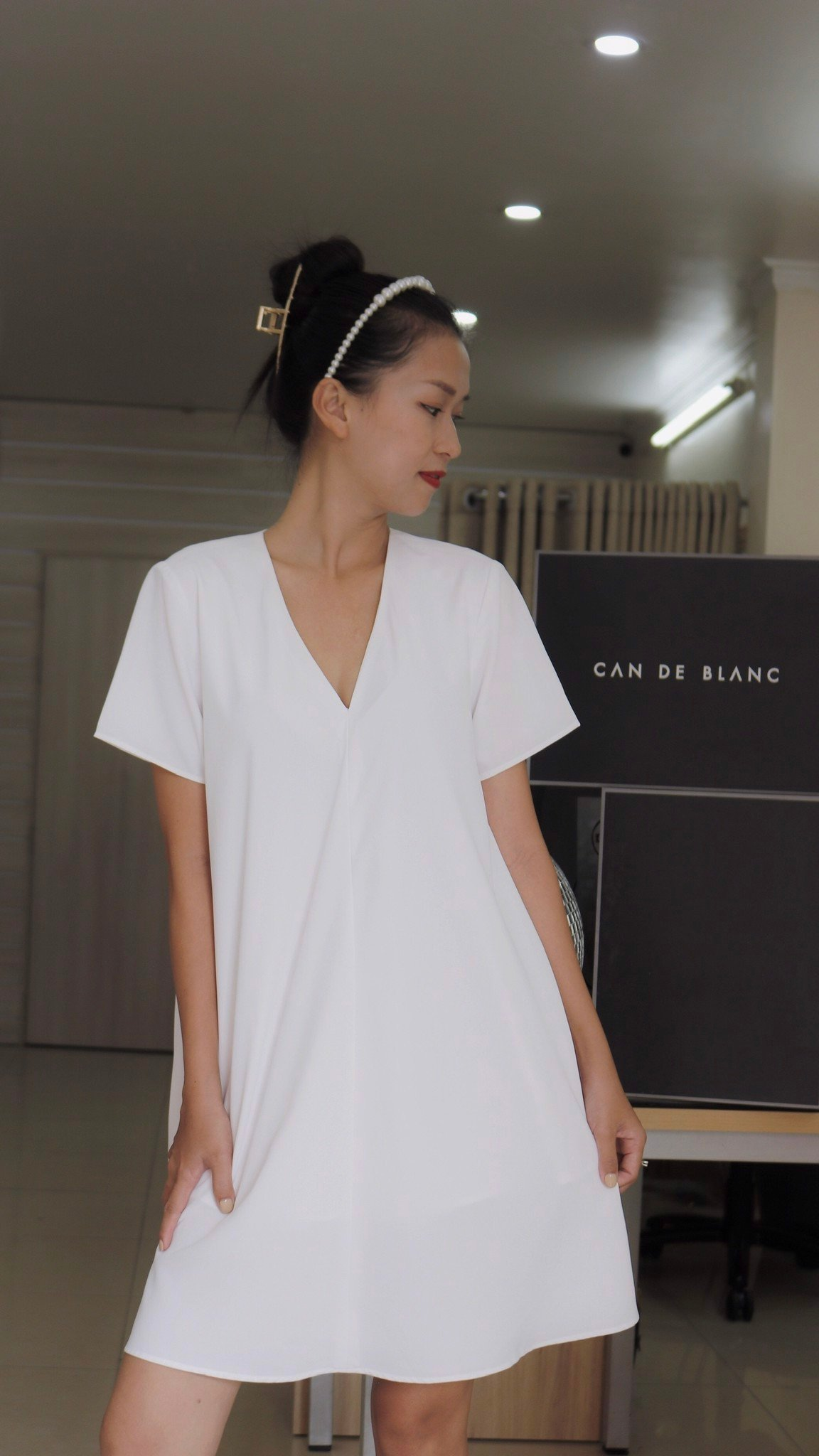 Tent Short Sleeves Silk Dress