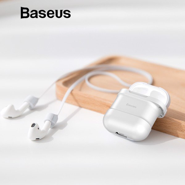 Bao Silicone chống sốc/ chống bụi Baseus Airpods Case LV329 dùng cho tai nghe Apple AirPods( Silicone Protective Kit With Airpods Trap, Support Charging For Airpods)