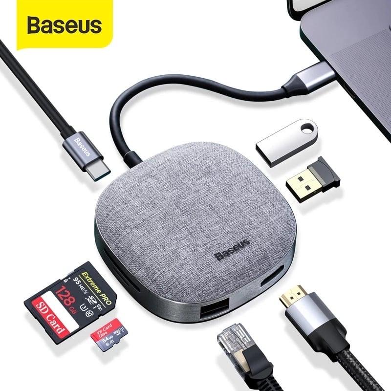 Hub chuyển đổi đa năng Baseus Fabric Series 7 in 1 Type-C Multifunctional HUB Adapter (2TB Data Reading, USB 3.0, Gigabit Network, 4k30hz, SD/TF, RJ45)