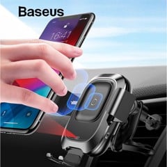 Đế giữ điện thoại trên xe hơi tích hợp sạc không dây Baseus Smart Vehicle Bracket Wireless Charger (Khóa tự động bằng cảm biến - Auto Smart Lock by Sensor)