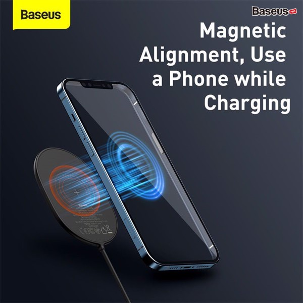 Đế sạc nhanh không dây có nam châm Baseus Light Magnetic Wireless Charger dùng cho iPhone 12/11/XS Max và Android (15W,Magnetic, Wireless quick charger)