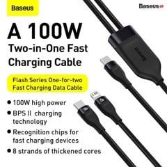 Cáp sạc nhanh 100W Type C to Lightning & Type C Baseus Flash Series One-for-two Fast Charging Data Cable Type-C to L+C (100W)