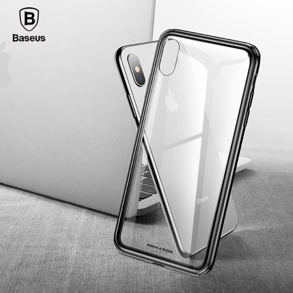 Ốp lưng kính cường lực viền Silicone chống sốc Baseus See-through Glass Case cho iphone XS/ XR/ XS Max (Tempered Glass + Soft Silicone )