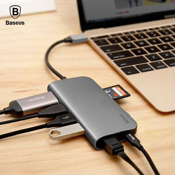 Hub chuyển đổi 8 trong 1 Baseus Almighty HUB cho Macbook Pro/ Laptop Windows (Type C to 3x USB 3.0, HDMI, TF/SD Card Reader, LAN RJ-45,  Type C Expansion Dock Adapter)