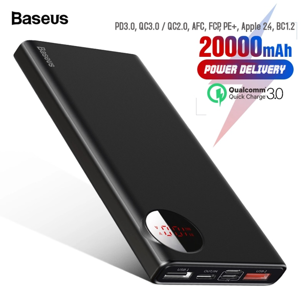 Pin sạc dự phòng Baseus Amblight Quick Charger 20,000mAh cho Smartphone/ Tablet/ Macbook (18W, QC 3.0 + PD 3.0 Power Delivery , LED, 2 Port USB + Type C in/out)