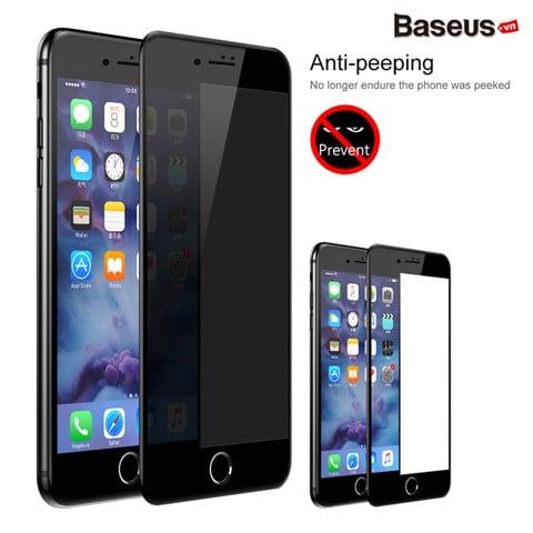 Kính cường lực 3D chống trầy - chống nhìn trộm Baseus Anti Spy - Break Edge LV321 cho iPhone 7/ 8/ Plus (0.23mm, 3D Anti Peeping Tempered Glass Film)