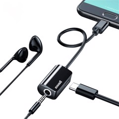 Đầu chuyển Type C sang Audio 3.5mm & Type C Baseus L40 (12cm Type C Male to Type C Female + 3.5mm Female Adapter)