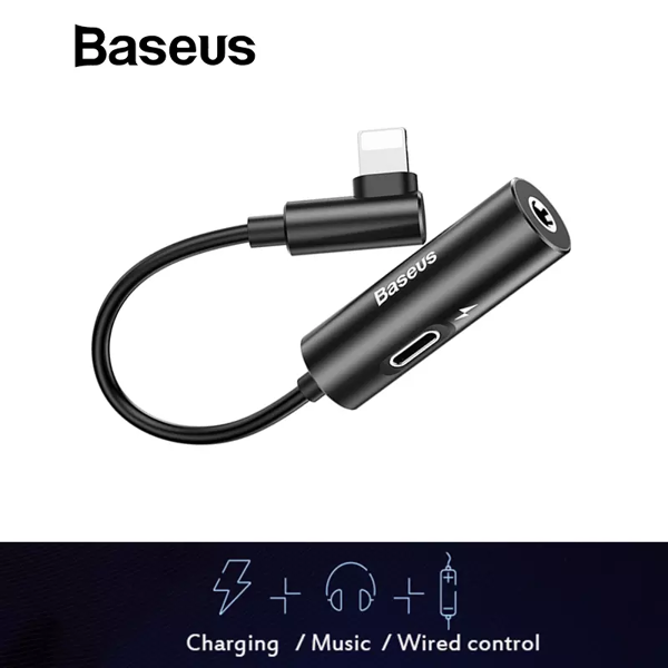 Bộ chuyển cổng Lightning sang Audio 3.5mm + Lightning Baseus L42 cho iPhone X/ XS Max (New Model, Smart Upgrade )