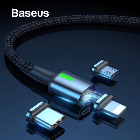 Cáp sạc từ tính Baseus Zinc Magnetic Cable Series 2 (Type C/ Micro/ Lightning , Sync Data & Quick Charge 3.0, New Model 2019)