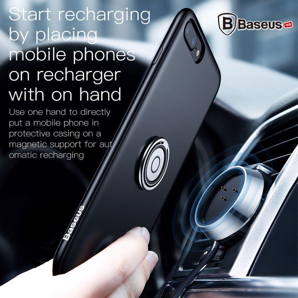 Ốp sạc không dây tích hợp Ring Holder cho iPhone 7 / 7Plus / 8 / 8Plus ( Anti-knock,With Finger Ring,Kickstand )