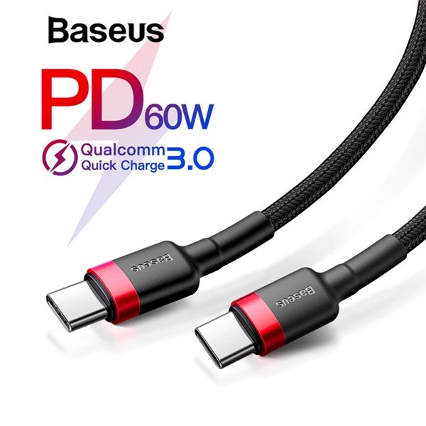 Cáp sạc nhanh & truyền data tốc độ cao Baseus Cafule C to C PD cho Smartphone/ Tablet / Macbook/ Laptop Type C (3A, 60W, Power Delivery, QC3.0 Quick Charge Cable)