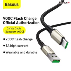 Cáp sạc nhanh,siều bền Baseus Cafule Type C VOOC Cable cho OPPO/Samsung/Huawei/ Xiaomi (5A, VOOC Officially Authorized Quick Charge, Nylon Braided + Zinc Alloy Cable)