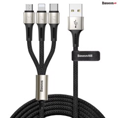 Cáp sạc và truyền dữ liệu siêu bền Baseus Caring Touch Selection 3 in 1 Cable ( USB Type A to USB Type C/ Micro USB/ Lightning  3.5A Fast Charging & Sync Data Cable)
