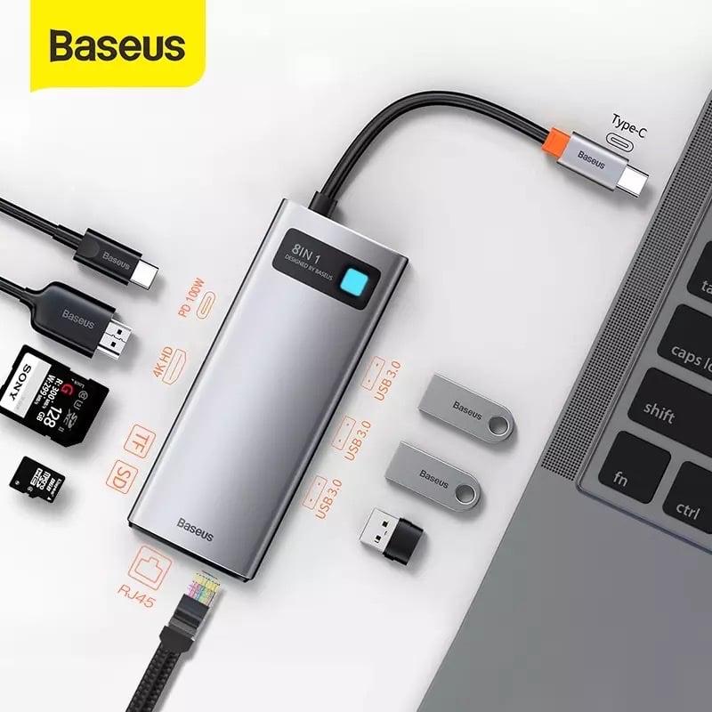 Hub chuyển đa năng Baseus Metal Gleam Series Multifunctional Docking Station ( Type-C to HDMI/ USB3.0/ LAN / SD Card Reader/ Type C PD 100W, Multifunctional HUB)