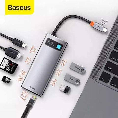 Hub chuyển đa năng Baseus Metal Gleam Series Multifunctional Docking Station ( Type-C to HDMI/ USB3.0/ LAN / SD Card Reader/ Type C PD 100W, Multifunctional HUB)