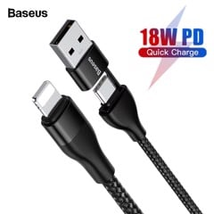 Cáp sạc nhanh Baseus 2-in-1 Dual Output Cable cho iPhone/ iPad (USB-A+Type-C to Lighing, 18W Max)