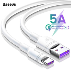 Cáp sạc nhanh Baseus Double Ring Type C cho Huawei/ Samsung S8/9, Note 8/9, Xiaomi (5A Huawei Super Quick charge / Quick Charge 3.0)