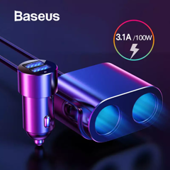 Tẩu sạc đa năng tích hợp bộ chia cổng sạc Baseus High Efficiency 1 to 2 Cigarette Lighter (Dual-Cigarette lighter 80W + Dual USB 3.1A, Smart Extended Car Charger)