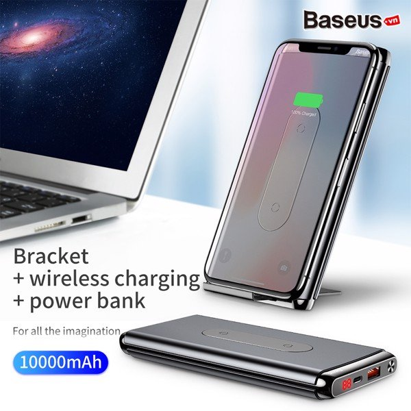 Pin sạc dự phòng không dây Baseus Dual Coil Wireless LV315 10,000mAh cho iPhoneX/ XS Max/ Samsung S9/ N9/ Xiaomi/ Huawei (LCD, Type C/PD + QC3.0 input/output 15W, Wireless charge  Power bank)