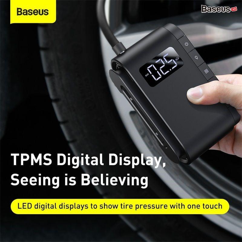 Máy bơm lốp xe hơi Baseus Dynamic Eye Inflator Pump (45W, 5~150PSI, Màn hình LED TPMS, Đèn Flash)