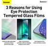Kính cường lực chống ánh sáng xanh dành cho các dòng iPhone 12 Baseus 0.15mm Eye Protection Full Coverage Tempered Glass Film 2020 (Green Light, Secondary Hardening, 2 miếng/hộp)