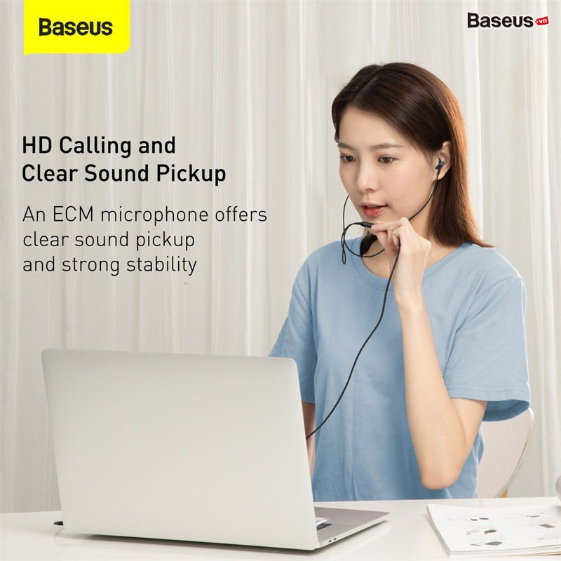 Tai nghe AUX 3.5mm Baseus Encok H19 Wired Earphone (6D surround, Deep Bass, with ECM Microphone for HD Calling)