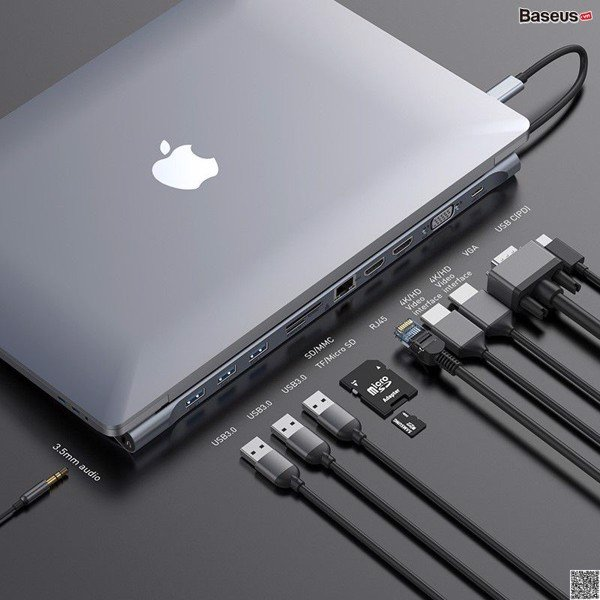 Bộ Hub chuyển đa năng 11 in 1 Baseus Enjoyment Series Type C LV502 cho Laptop/ Macbook ( Type-C to HDMI/ VGA/ USB 3.0/ Card Reader/ RJ-45/AUX 3.5mm, New Upgrade Model 2019)