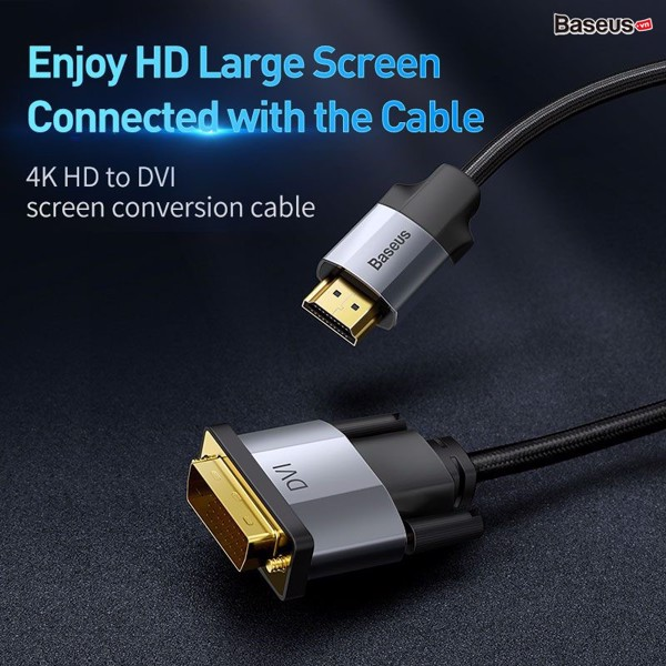 Cáp chuyển HDMI sang DVI độ nét cao Baseus Enjoyment Series (HDMI 4K Male To DVI Male,  Bidirectional Adapter Cable)