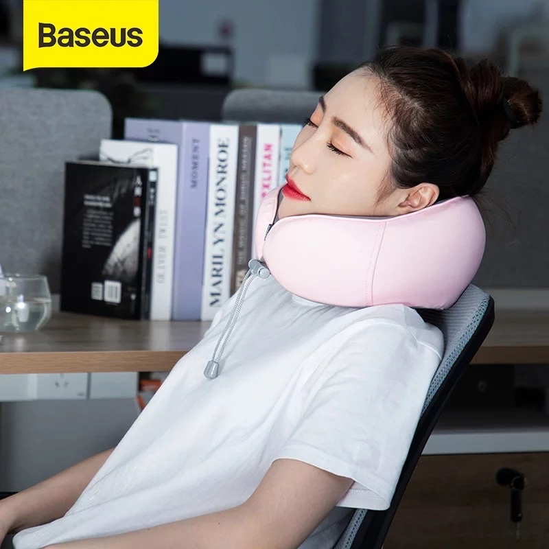 Gối mềm chữ U chống mỏi cổ, vai gáy Baseus Thermal Series Memory Foam U-Shaped Neck Pillow (with 2 Packs of Hot Compress Patches for Replacement)
