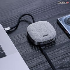 Hub chuyển đổi đa năng Baseus Fabric Series 7 in 1 Type-C Multifunctional HUB Adapter (2TB Data Reading, USB 3.0, Gigabit Network, 4k30hz, SD/TF, RJ45)