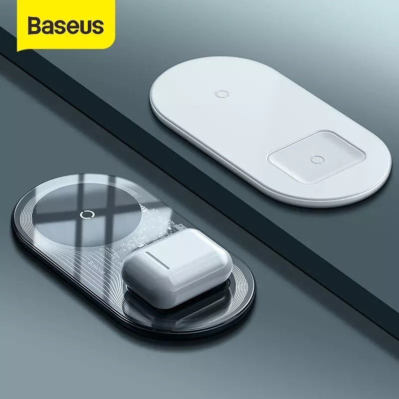 Đế sạc nhanh không dây Baseus Simple 2 in 1 Wireless Charger 15W cho iPhone và Airpods (15W, Wireless Quick charger)