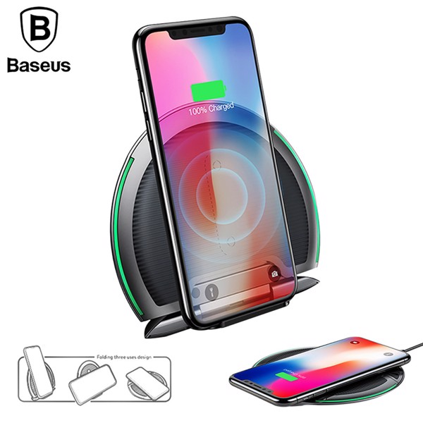 Đế sạc nhanh không dây Baseus Foldable LV253 cho Apple iPhone 8/ iPhone X / Samsung S8/ S9/ Note 8 ( 10W, Foldable Multifunction Wireless Quick Charger)