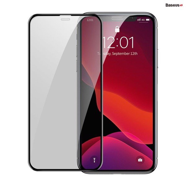 Kính cường lực chống nhìn trộm, chống bụi màn loa Baseus Full-screen Curved Privacy Tempered Glass Film dùng cho iPhone 11/ Pro/ Pro Max (0.3mm, 2 PCS, Cellular Dust Prevention/  Anti Peeping )