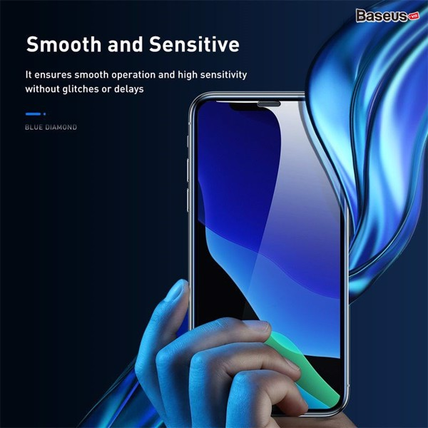 Kính cường lực chống trầy, chống bụi Baseus full-screen curved tempered glass screen protector For iP 11/11Promax/iPX (2 Pcs, Pasting Artifact, Che màng loa)