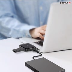 Bộ Hub chia cổng USB tốc độ cao Baseus Fully Folded Portable 4-in-1 (USB A to USB2.0*4 Ports with power supply)
