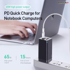 Bộ sạc nhanh đa năng thế hệ mới Baseus GaN Travel Quick Charger 65W cho Smartphone/ Tablet/ iPad/ Macbook/ Laptop (Type Cx2 + USB , PD3.0/ PPS/ QC4.0/ SCP/ FCP Multi Quick Charge Protocol, GaN Technology)