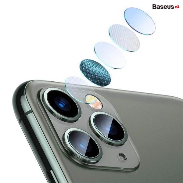 Kính cường lực 5 lớp chống trầy Camera cho iPhone 11 Series Baseus Gem lens ( 0.15mm,  3H Scratch Proof Camera Lens Protector for iP 11/Pro/ Pro Max))