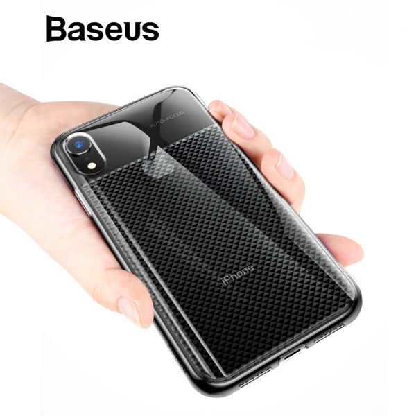 Ốp lưng Silicone dẽo trong suốt chống bám vân tay Baseus Glistening Case cho iPhone XR 6.1 inch ( Soft TPU Silicone, Grid Pattern Design)