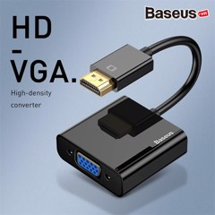 Đầu chuyển cổng HDMI sang VGA/ Audio AUX 3.5mm  Baseus HD Converter (1080p Digital HDMI Male to VGA Female Video Converter Audio Splitter for Laptop)