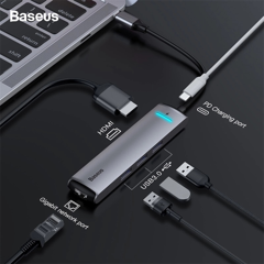Hub chuyển Baseus Mechanical Eye 6 in 1 Smart Hub cho Smartphone/ Laptop/ Macbook (Type C to 3x USB 3.0, HDMI 4K - 60Hz, LAN RJ-45, Type C PD Expansion Smart Dock)