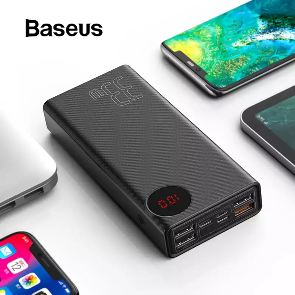 Pin dự phòng sạc nhanh Baseus Mulight PD/QC 3.0 Quick Charge cho Smartphone/ Tablet/ Macbook ( 20000mAh / 30000mAh, 18W / 33W PD & QC3.0 , 4*Port USB+ Type C in/out, LED Display)