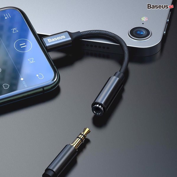 Đầu chuyển Lightning sang Audio AUX 3.5mm Baseus LV694 cho iPhone X/iPhone 11 Series/ iPad (iP Male to 3.5mm Female Adapter  support Music / Call)