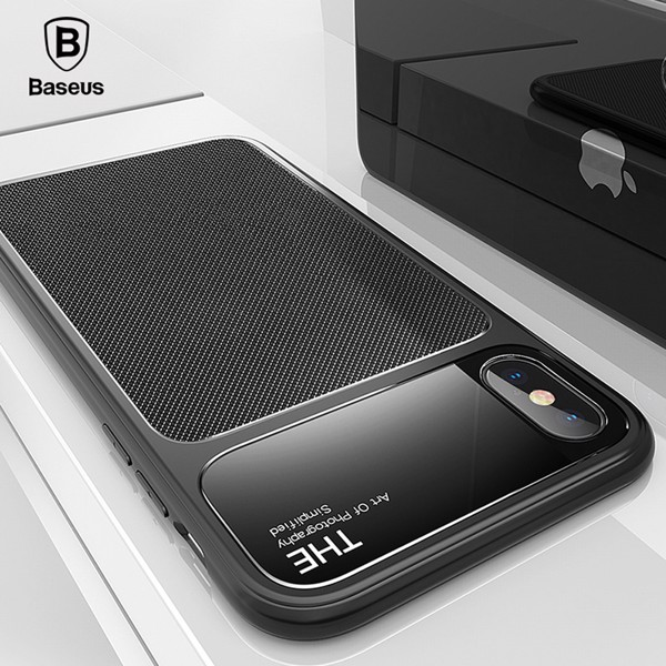 Ốp lưng chống sốc Baseus Knight Case cho iPhone X (Tempered Glass + Silicone Hybrid Armor)